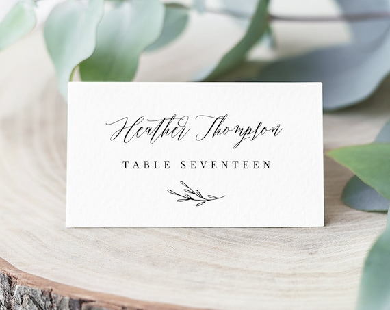 INSTANT DOWNLOAD, Wedding Place Card Printable, Escort Card Template, Modern Calligraphy Name Card, 100% Editable, Templett #038-112PC