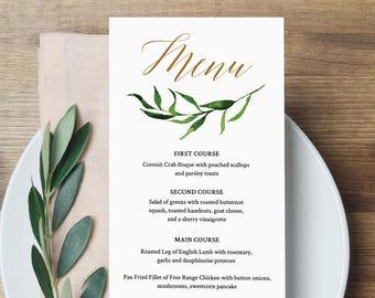 Greenery Wedding Menu Template, INSTANT DOWNLOAD, Fully Editable, Printable Dinner Menu, Watercolor Leaves, Templett, DIY #013-108WM
