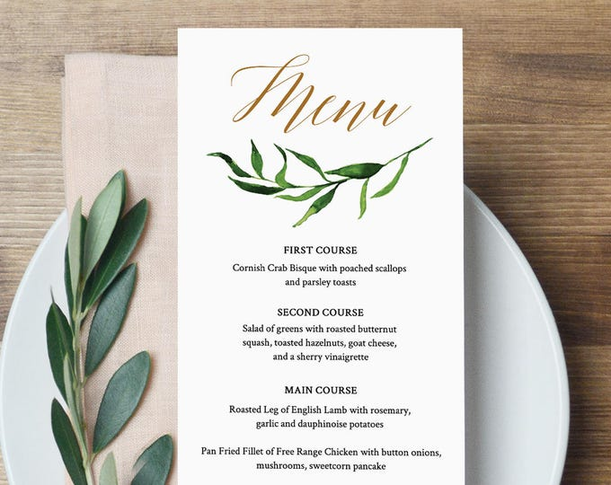 Greenery Wedding Menu Template, INSTANT DOWNLOAD, Fully Editable, Printable Dinner Menu, Watercolor Leaves, Templett, DIY #013-108WM