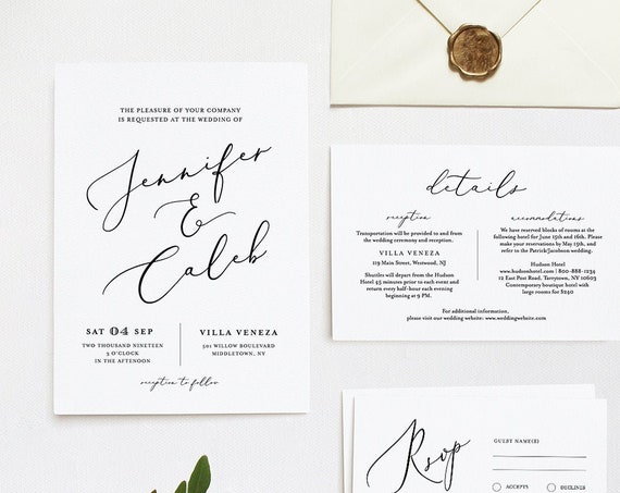 Wedding Invitation Template, INSTANT DOWNLOAD, 100% Editable, Minimalist Invite, RSVP & Detail, Printable Modern Calligraphy, Templett #045C