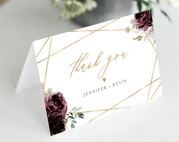 Thank You Note Card Template, Printable Vintage Moody Floral Wedding / Bridal Shower Folded Card, INSTANT DOWNLOAD, Editable #074-139TYC