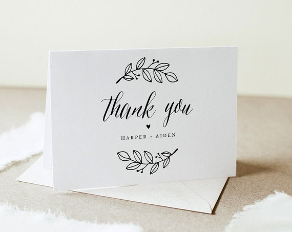 Rustic Thank You Folded Card Printable, Minimalist Wedding / Bridal Shower Note, Editable Template, INSTANT DOWNLOAD, Templett #039-151TYC