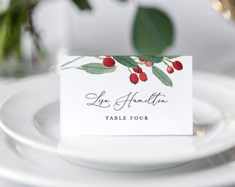 Winter Wedding Place Card Template, INSTANT DOWNLOAD, 100% Editable, Printable Escort Card, Modern Script Name Card, Templett #071-133PC