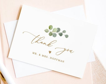 Greenery Thank You Note Card Template, Printable Wedding / Bridal Shower Folded Notecard, Editable Text, INSTANT DOWNLOAD #056-127TYC