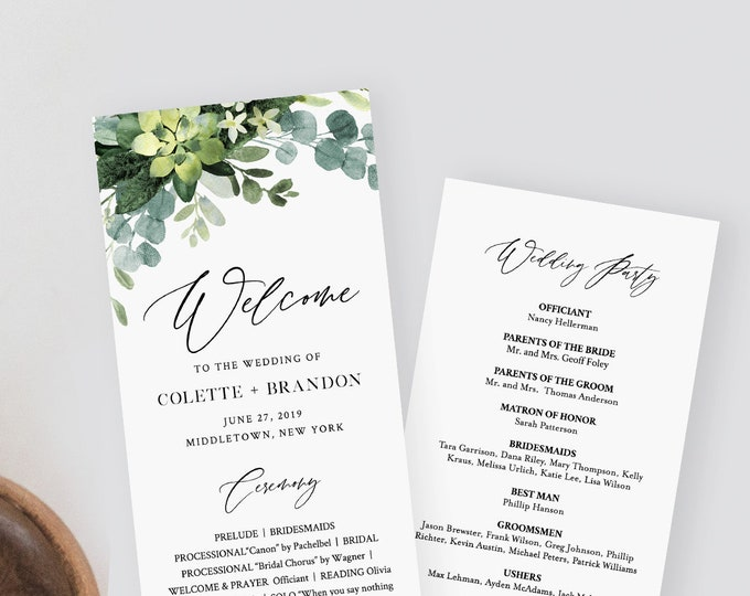 Greenery Wedding Program Template, Printable Order of Service, Ceremony Program, Instant Download, 100% Editable Text, Templett #082-220WP