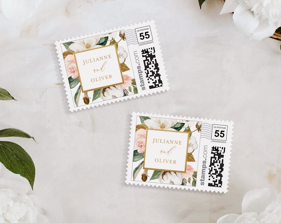 Magnolia Postage Stamp Template, Custom Wedding Envelope, Photostamps.com, DIY, Instant Download, 100% Editable Text, Templett #015-107PS