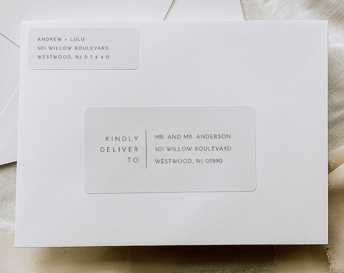 Minimalist Envelope Label Template, Printable Return and Recipient Address Sticker, Editable, Instant Download, Templett #094-115AL