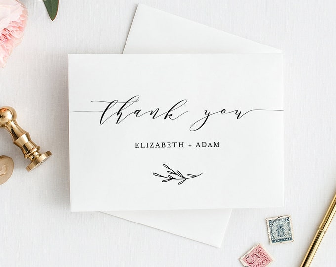 Self-Editing Thank You Template, Folded Thank You Note Card Printable, Minimalist & Clean, INSTANT DOWNLOAD, 100% Editable, DIY #037-113TYC
