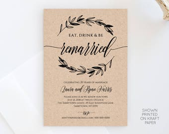 Vow Renewal Invitation Template, Eat Drink Be Married, Instant Download, DIY Rustic Wedding Anniversary, Renew Vow, 100% Editable #023-101VR