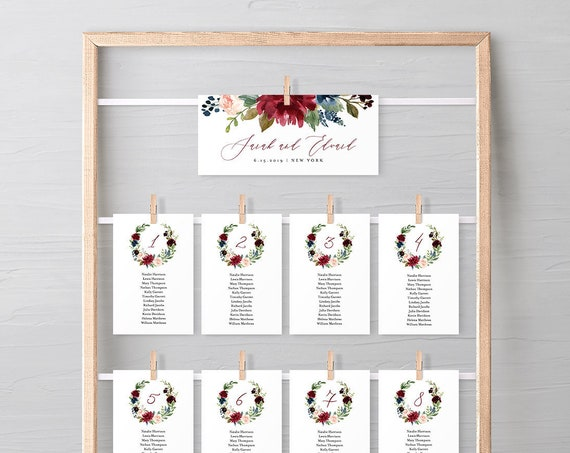 Boho Seating Chart Template, Printable Wedding Seating Card, Seating Chart, INSTANT DOWNLOAD, 100% Editable Text, Burgundy Floral #062-111SP