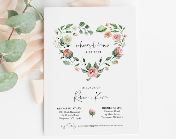 Romantic Rehearsal Dinner Template, Printable Floral Heart Wreath Invite, INSTANT DOWNLOAD, 100% Editable Text, DIY, Templett #058-132RD