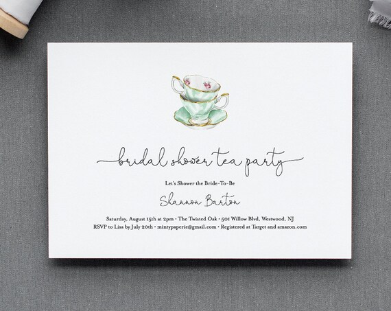 Tea Bridal Shower Invitation Template, Printable Tea Party Invite, Bridal Brunch, Editable Text, INSTANT DOWNLOAD, Simple, Classic #178BS
