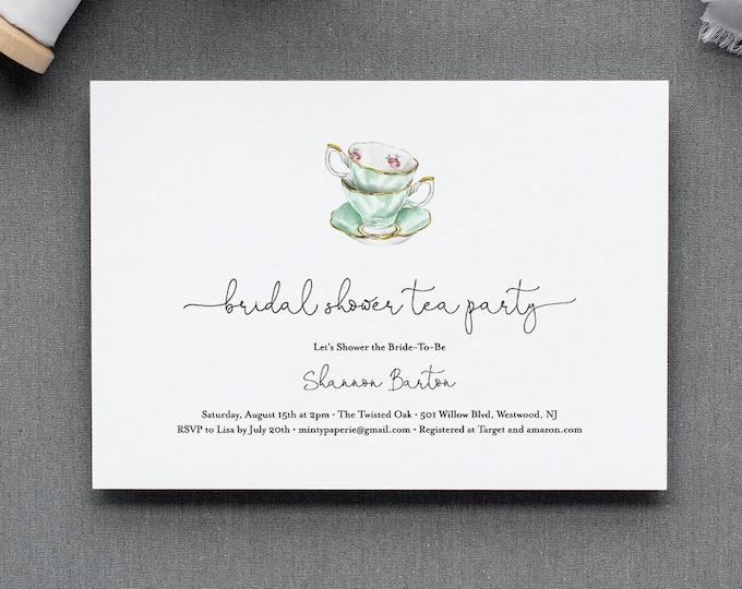 Tea Bridal Shower Invitation Template, Printable Tea Party Invite, Bridal Brunch, Editable Text, INSTANT DOWNLOAD, Simple, Classic 085-178BS