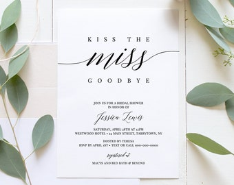Bridal Shower Invitation Template, INSTANT DOWNLOAD, Printable Wedding Shower Invite, 100% Editable, Simple Modern, DIY, Templett #034-110BS