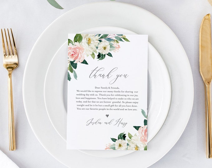 INSTANT DOWNLOAD, Wedding Thank You Template, Printable In Lieu of Favor Card, 100% Editable, Napkin Thank You Note, Boho Floral #043-108TYN