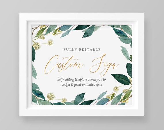 Self-Editing Wedding Sign Template, INSTANT DOWNLOAD, Create Unlimited Signs, 100% Editable, Printable, Boho, Greenery, Templett #044-114CS
