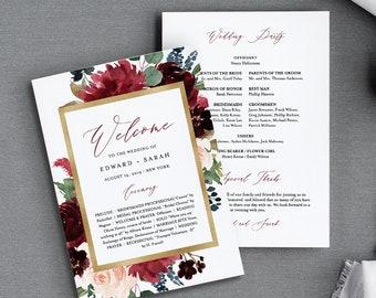 Wedding Program Template, Flat or Fan Program, Merlot & Navy Boho Florals, INSTANT DOWNLOAD, Printable Order of Service, Editable #062-416WP