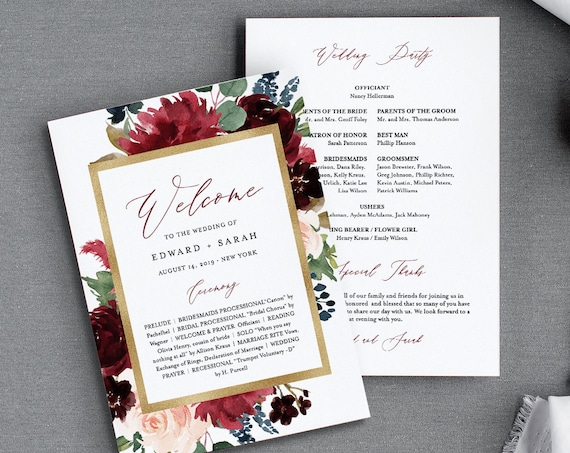 Wedding Program Template, Flat or Fan Program, Merlot & Navy Boho Florals, INSTANT DOWNLOAD, Printable Order of Service, Editable #062-416WP