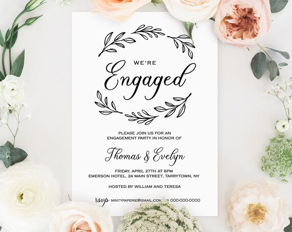 Engagement Invitation Template, Printable Wedding Engagement Announcement, We're Engaged, Fully Editable, Instant Download, DIY #027-108EP