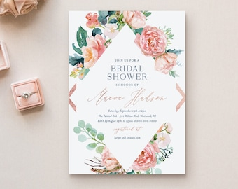 Bridal Shower Invitation Template, Printable Rose Gold, Navy, Blush Boho Floral Wedding Shower Invite, Editable, INSTANT DOWNLOAD #069-191BS