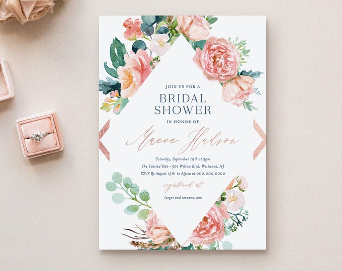 Bridal Shower Invitation Template, Printable Rose Gold, Navy, Blush Boho Floral Wedding Shower Invite, Editable, INSTANT DOWNLOAD #069-191BS