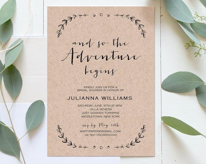 Printable Bridal Shower Invitation Template | Rustic Wedding Shower Invite | The Adventure Begins | Instant Download | Editable #031-129BS