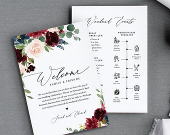 Wedding Timeline & Welcome Letter Template, Boho Merlot Florals Wedding Bag Order of Events, INSTANT DOWNLOAD, 100% Editable Text #062-117WB