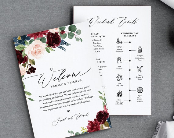 Wedding Timeline & Welcome Letter Template, Boho Merlot Florals Wedding Bag Order of Events, INSTANT DOWNLOAD, 100% Editable Text #062-117WB