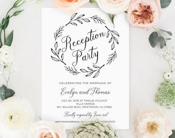 Reception Party Invitation Template, Wedding Reception Printable, 100% Editable, Rustic Wreath, Kraft Invite, Instant Download #027-102WR