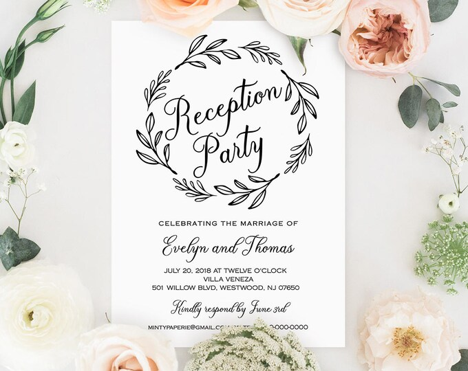 Reception Party Invitation Template, Wedding Reception Printable, 100% Editable, Rustic Wreath, Kraft Invite, Instant Download #027-102WR