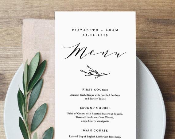 Wedding Menu Printable, INSTANT DOWNLOAD, Rustic Dinner Menu Card Template, Reception Card, 100% Editable, Kraft, DIY, Templett #037-112WM