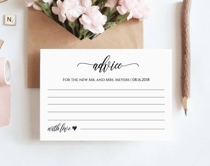 Wedding Advice Card Printable, Editable Template, Well Wishes for Bride and Groom, Newlywed, Instant Download, DIY #023-105EC 022 014 020