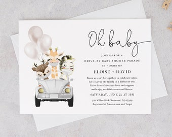 Drive-By Baby Shower Parade InvitationTemplate, Social Distancing Drive By Shower Invite, Editable, Instant Download, Templett #0008-187BA