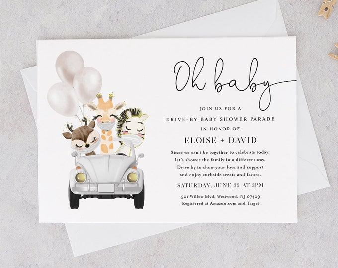 Drive-By Baby Shower Parade Invitation Template, Social Distancing Drive By Shower Invite, Editable, Instant Download, Templett #0008A-187BA