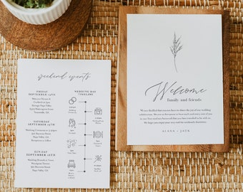 Lavender Welcome Letter & Timeline Template, Minimalist Wedding Order of Events, Itinerary, INSTANT DOWNLOAD, Editable Text #0006C-153WB