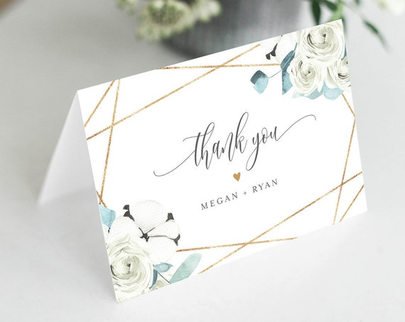 Thank You Note Card Template, Printable Winter Cotton Greenery Wedding / Bridal Shower Folded Card, INSTANT DOWNLOAD, Editable #091-140TYC