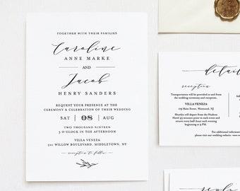 Editable Wedding Invitation Set Template, INSTANT DOWNLOAD, 100% Editable, Minimalist Invite, RSVP & Detail, Printable, Templett #037B