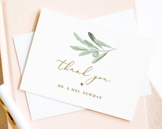 Thank You Note Card Template, Printable Olive Leaves, Greenery Wedding / Bridal Shower Folded Card, INSTANT DOWNLOAD, Editable #081-120TYC