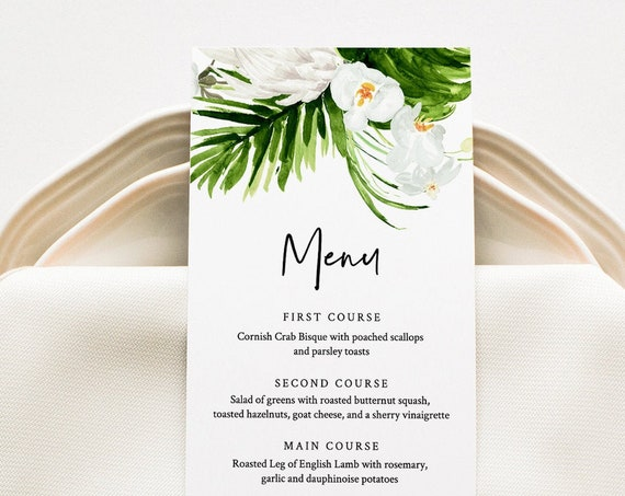 Tropical Menu Card Template, Dinner Menu for Wedding, Bridal Shower, Baby Shower, 100% Editable Text, Instant Download, Templett #079-149WM