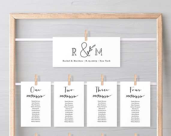 Rustic Seating Card Template, Hanging Seating Chart, Minimalist Wedding Seating Plan, Instant Download, Editable, Templett #042-121SP