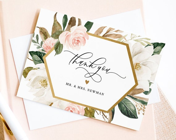 Thank You Note Card Template, Printable Magnolia & Greenery Wedding / Bridal Shower Folded Card, INSTANT DOWNLOAD, Editable #015-120TYC