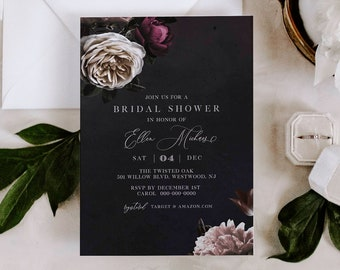 Bridal Shower Invitation Template, Romantic Moody Floral Wedding Shower Invite, Classic, 100% Editable Text, INSTANT DOWNLOAD #009-211BS