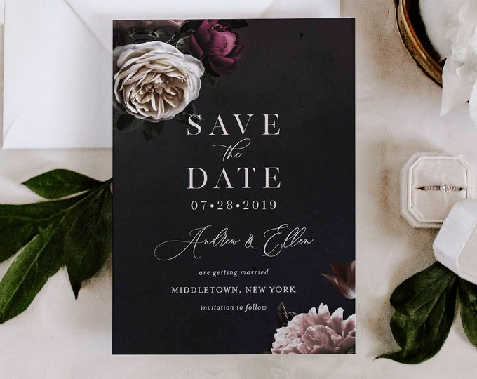 Save the Date Template, Moody Floral, Purple & Cream Floral Wedding Date Card, Instant Download, 100% Editable Text, Templett, DIY 009-143SD