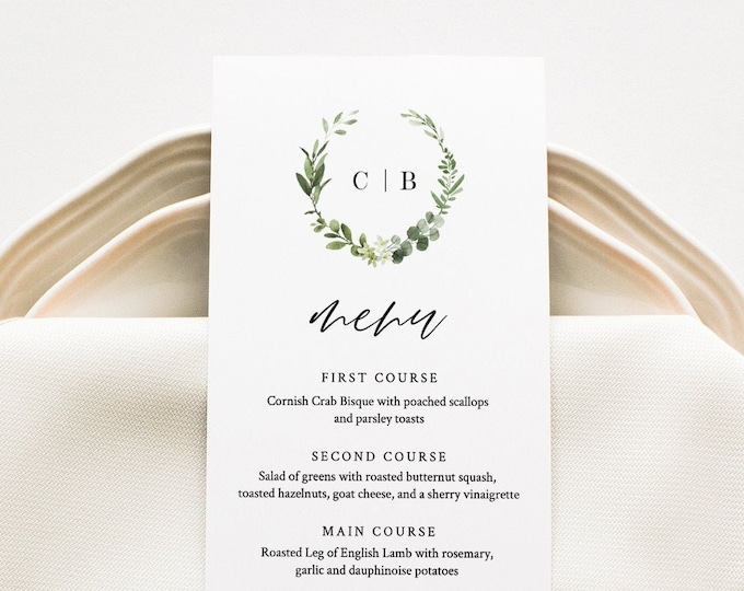 Greenery Menu Card Template, Wreath Monogram Dinner Menu, Wedding Menu Card Printable, 100% Editable, Instant Download, Templett #082-148WM