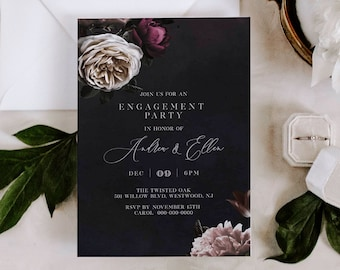 Engagement Party Invitation Template, 100% Editable Text, Moody Vintage Floral Engaged Announcement, Printable, INSTANT DOWNLOAD #009-125EP