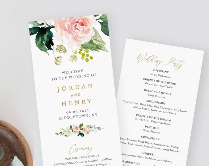 Floral Wedding Program Template, Printable Order of Service, Editable Text, DIY Boho Flat Program, Templett, INSTANT DOWNLOAD #043-222WP