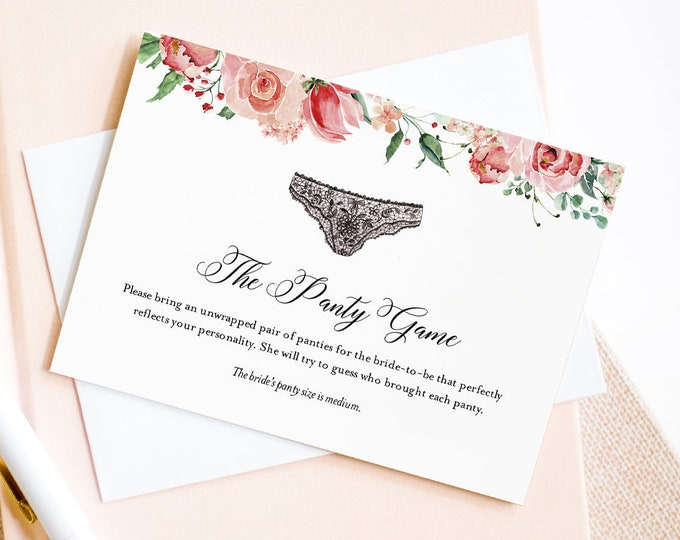 Panty Game Card Insert, Bridal Shower Game, Bachelorette Panty Party, Bring a Panty Template, Lingerie, Instant Download, Templett 001-101PG