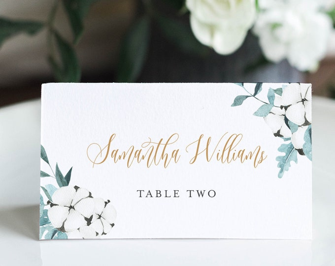Winter Place Card Template, Printable Wedding Escort Card with Meal Option, Cotton Greenery, INSTANT DOWNLOAD, Editable, Templett #091-147PC
