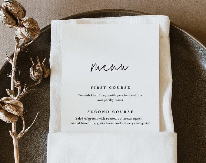 Minimalist Menu Template, Printable Modern Simple Wedding Dinner Menu Card, 100% Editable, INSTANT DOWNLOAD, Templett, 3.5x8.5 #095A-189WM