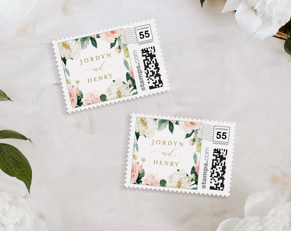 Postage Stamp Template, Boho Blush Floral Wedding, Photostamps.com, DIY Stamp, Instant Download, 100% Editable Text, Templett #043-103PS